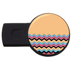 Chevrons Patterns Colorful Stripes Background Art Digital USB Flash Drive Round (2 GB)