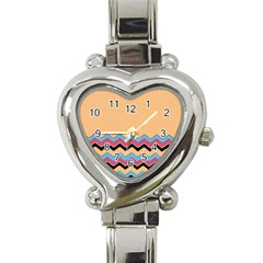 Chevrons Patterns Colorful Stripes Background Art Digital Heart Italian Charm Watch