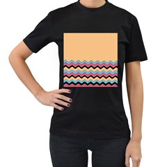 Chevrons Patterns Colorful Stripes Background Art Digital Women s T Shirt (black) (two Sided)