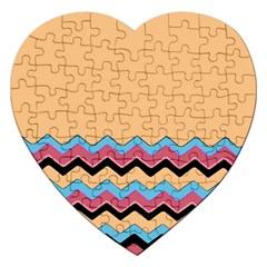 Chevrons Patterns Colorful Stripes Background Art Digital Jigsaw Puzzle (heart)