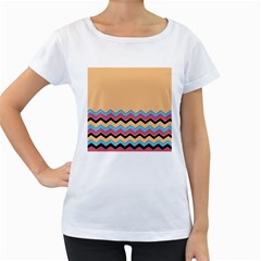 Chevrons Patterns Colorful Stripes Background Art Digital Women s Loose Fit T Shirt (white)