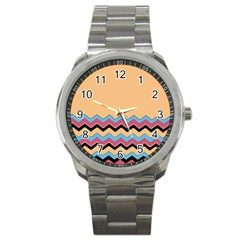 Chevrons Patterns Colorful Stripes Background Art Digital Sport Metal Watch