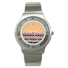 Chevrons Patterns Colorful Stripes Background Art Digital Stainless Steel Watch