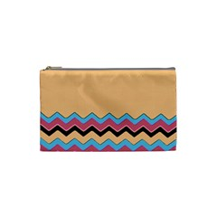 Chevrons Patterns Colorful Stripes Background Art Digital Cosmetic Bag (small)
