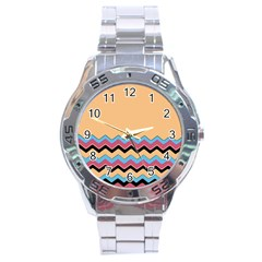 Chevrons Patterns Colorful Stripes Background Art Digital Stainless Steel Analogue Watch