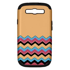Chevrons Patterns Colorful Stripes Background Art Digital Samsung Galaxy S III Hardshell Case (PC+Silicone)