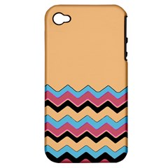 Chevrons Patterns Colorful Stripes Background Art Digital Apple Iphone 4/4s Hardshell Case (pc+silicone)
