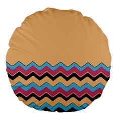 Chevrons Patterns Colorful Stripes Background Art Digital Large 18  Premium Round Cushions