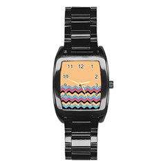 Chevrons Patterns Colorful Stripes Background Art Digital Stainless Steel Barrel Watch