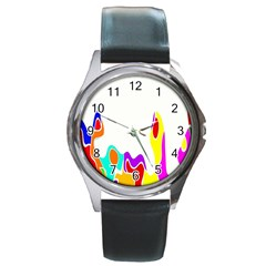 Simple Abstract With Copyspace Round Metal Watch