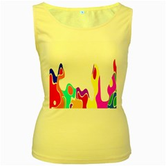 Simple Abstract With Copyspace Women s Yellow Tank Top