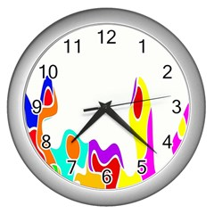 Simple Abstract With Copyspace Wall Clocks (silver)