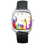 Simple Abstract With Copyspace Square Metal Watch Front