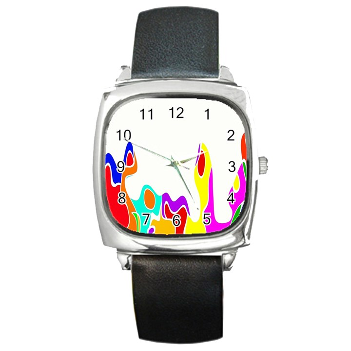 Simple Abstract With Copyspace Square Metal Watch