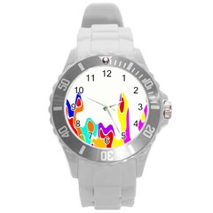 Simple Abstract With Copyspace Round Plastic Sport Watch (l)