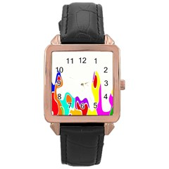 Simple Abstract With Copyspace Rose Gold Leather Watch