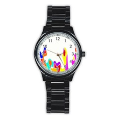 Simple Abstract With Copyspace Stainless Steel Round Watch