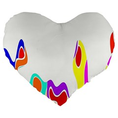 Simple Abstract With Copyspace Large 19  Premium Flano Heart Shape Cushions