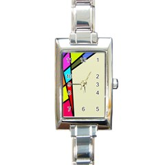 Digitally Created Abstract Page Border With Copyspace Rectangle Italian Charm Watch