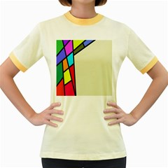 Digitally Created Abstract Page Border With Copyspace Women s Fitted Ringer T Shirts