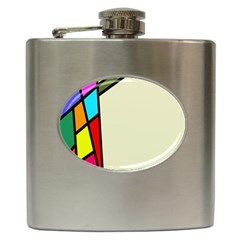 Digitally Created Abstract Page Border With Copyspace Hip Flask (6 Oz)