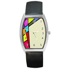 Digitally Created Abstract Page Border With Copyspace Barrel Style Metal Watch