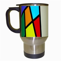 Digitally Created Abstract Page Border With Copyspace Travel Mugs (White)