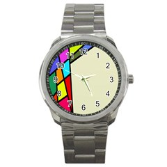 Digitally Created Abstract Page Border With Copyspace Sport Metal Watch