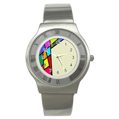 Digitally Created Abstract Page Border With Copyspace Stainless Steel Watch