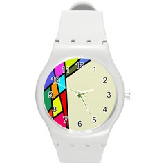 Digitally Created Abstract Page Border With Copyspace Round Plastic Sport Watch (M)
