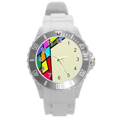 Digitally Created Abstract Page Border With Copyspace Round Plastic Sport Watch (L)