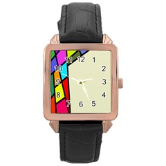Digitally Created Abstract Page Border With Copyspace Rose Gold Leather Watch