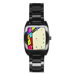 Digitally Created Abstract Page Border With Copyspace Stainless Steel Barrel Watch