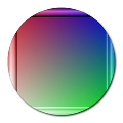 3d Rgb Glass Frame Round Mousepads