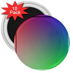 3d Rgb Glass Frame 3  Magnets (10 Pack)