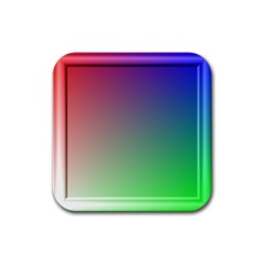 3d Rgb Glass Frame Rubber Square Coaster (4 Pack)