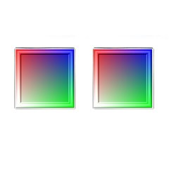 3d Rgb Glass Frame Cufflinks (Square)