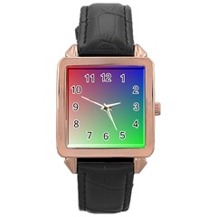 3d Rgb Glass Frame Rose Gold Leather Watch