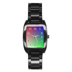 3d Rgb Glass Frame Stainless Steel Barrel Watch