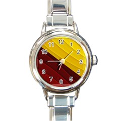 3d Glass Frame With Red Gold Fractal Background Round Italian Charm Watch