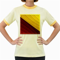 3d Glass Frame With Red Gold Fractal Background Women s Fitted Ringer T Shirts
