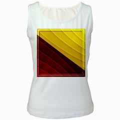 3d Glass Frame With Red Gold Fractal Background Women s White Tank Top