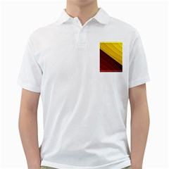 3d Glass Frame With Red Gold Fractal Background Golf Shirts