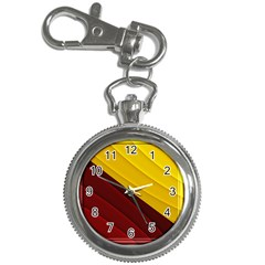 3d Glass Frame With Red Gold Fractal Background Key Chain Watches