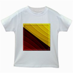 3d Glass Frame With Red Gold Fractal Background Kids White T-Shirts