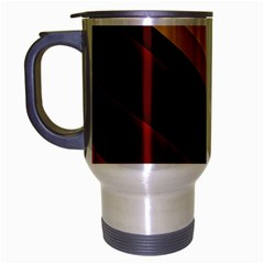 3d Glass Frame With Red Gold Fractal Background Travel Mug (silver Gray)