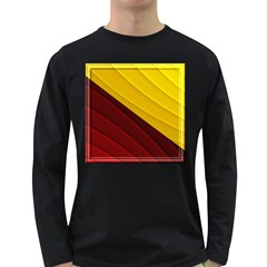 3d Glass Frame With Red Gold Fractal Background Long Sleeve Dark T Shirts