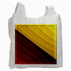 3d Glass Frame With Red Gold Fractal Background Recycle Bag (one Side)