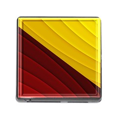 3d Glass Frame With Red Gold Fractal Background Memory Card Reader (square)