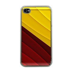 3d Glass Frame With Red Gold Fractal Background Apple Iphone 4 Case (clear)